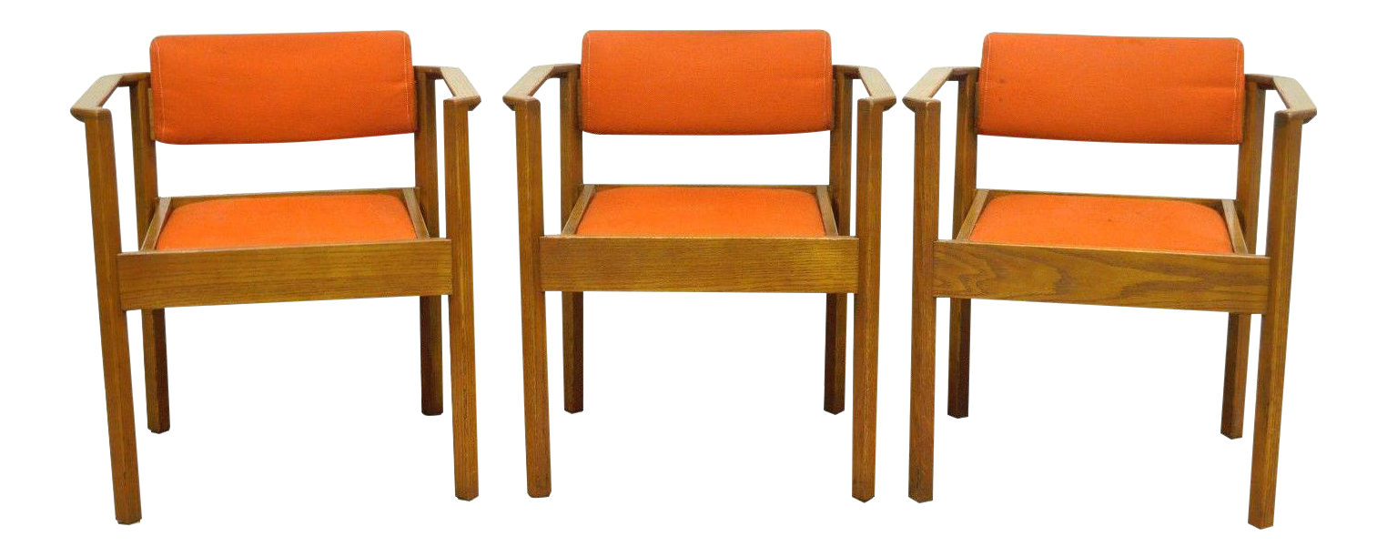 Merveilleux 3 Vintage Kimball Mid Century Modern Oak Stacking Dining Arm Chairs Danish  Style