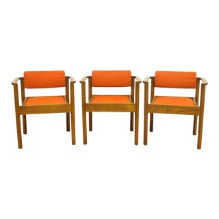 Vintage Kimball Mid Century Modern Oak Stacking Dining Arm Chairs Danish Style - Set of 3 For Sale
