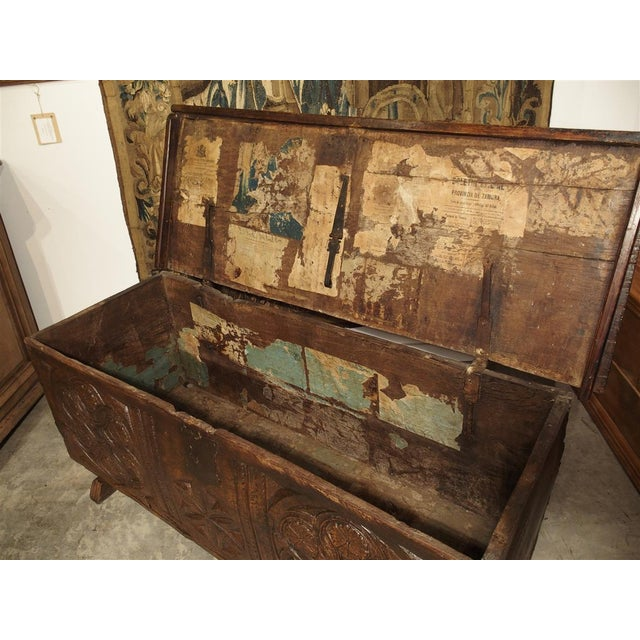 Brown Large Carved Oak Plank Trunk From the Basque Country, Circa 1650 For Sale - Image 8 of 13