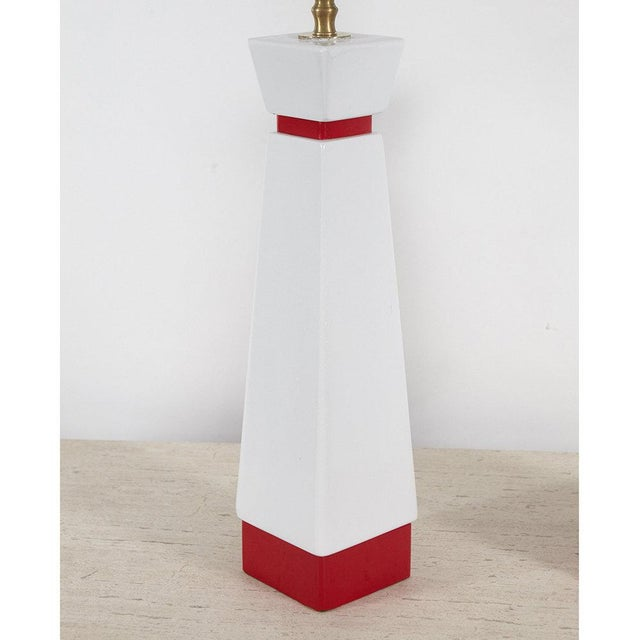 Red and White Mid-Century Lamps - A Pair For Sale - Image 5 of 8