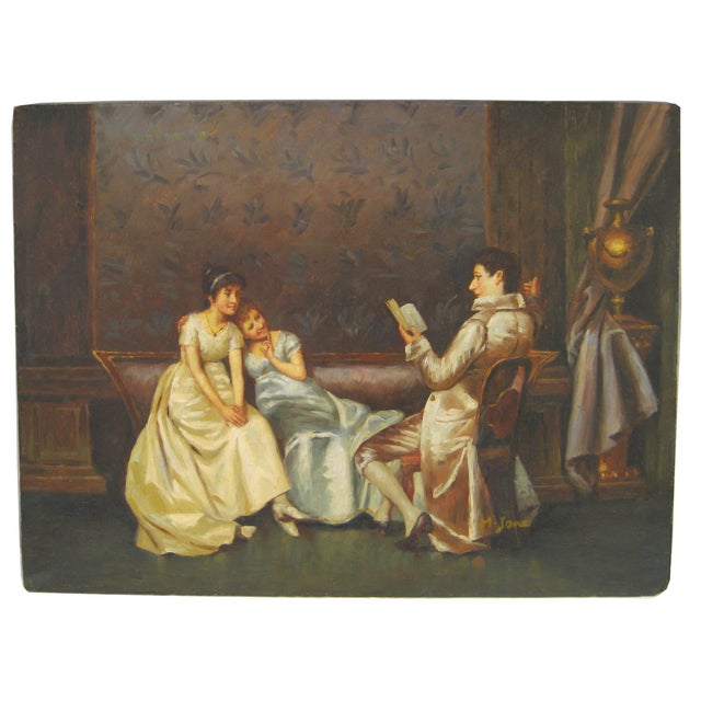 """The Reading"" Regency Era Oil Painting - Image 1 of 4"