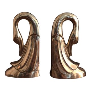 Vintage Large Brass Swan Bookends Art Deco Shiny Bird Hollywood Regency Glam For Sale