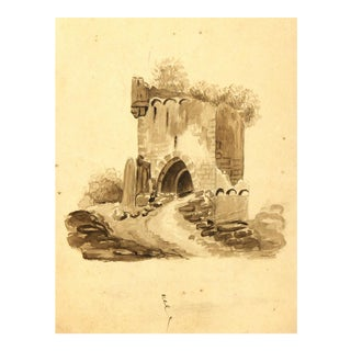 Original French Tower Ink Drawing, C.1870