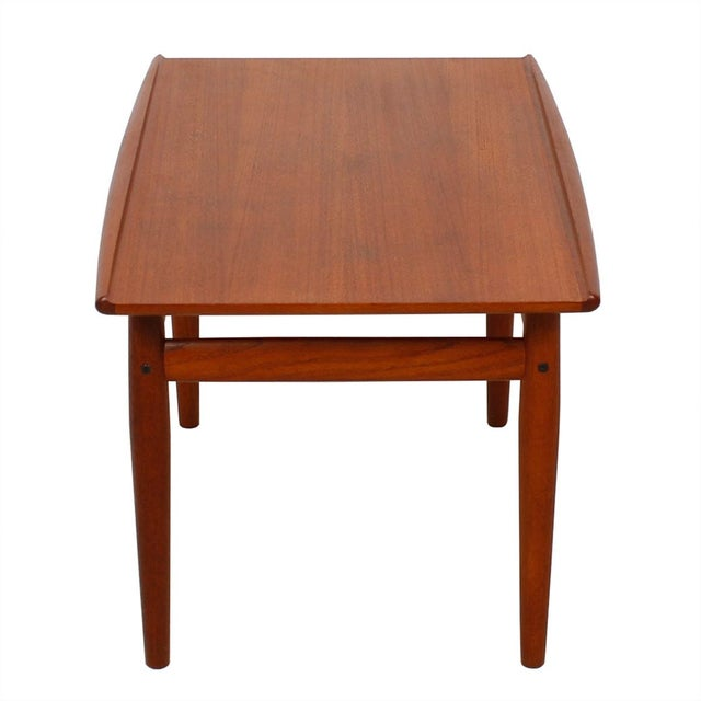 Grete Jalk Teak End Table with Raised Lip Edge For Sale - Image 5 of 9