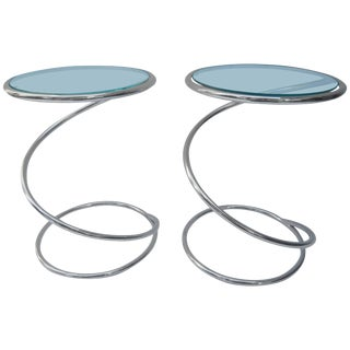 Pair of Polished Chrome and Glass Pace Tables by Leon Rosen For Sale