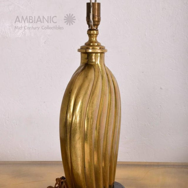 1940s Hollywood Regency Brass Table Lamp For Sale - Image 5 of 7