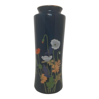 Blue Ceramic & Gold Japanese Vase For Sale