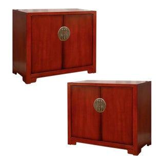 Stunning Restored Pair of Vintage Cabinets by Baker in Chinese Red Lacquer For Sale