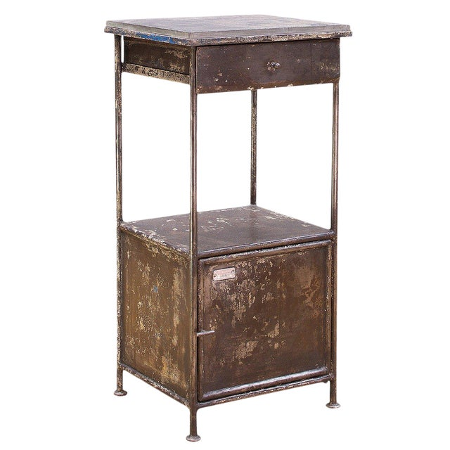 Industrial Alms Petite Industrial Steel and Slate Bedside Table With Cabinet For Sale
