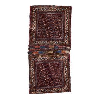 1930s Vintage Hand-Knotted Red Wool Saddlebag / Rug - 2′ × 4′ For Sale