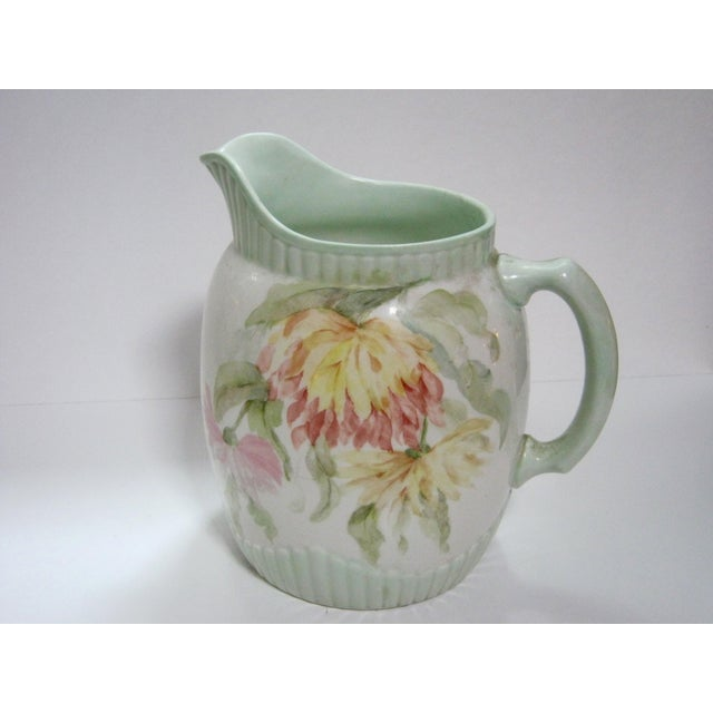Cottage Antique Hand Painted Floral Pitcher For Sale - Image 3 of 7