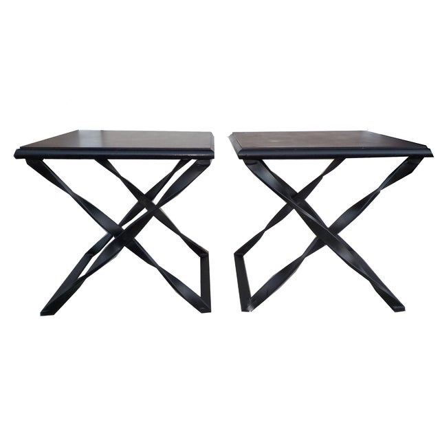 Rustic Wood & Wrought Iron Side Tables - A Pair - Image 3 of 5