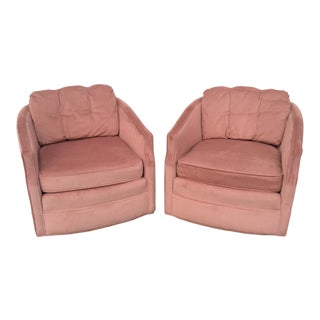 1970s Vintage Century Furniture Swivel Barrel Chairs- A Pair For Sale