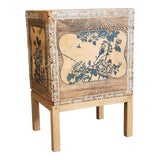 Image of Antique Japanese Tea Crate on Stand Side Table For Sale