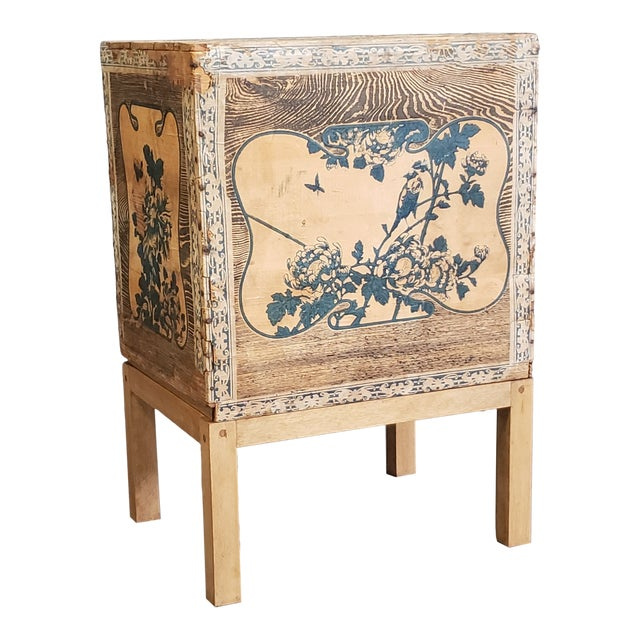 Antique Japanese Tea Crate on Stand Side Table For Sale