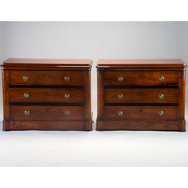 Pair Mahogany Chests With Black Detailing For Sale - Image 11 of 11