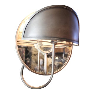 Pair of Circular Mirrored Sconces