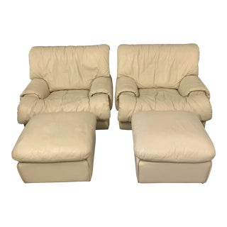 Postmodern 1980s Lounge Chairs With Ottomans by Roche Bobois - 4 Pieces For Sale