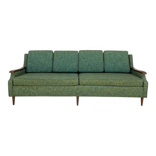 Mid-Century Modern Upholstered Green + Floral Sofa For Sale