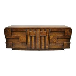 Vintage Mid Century Modern Lane Brutalist Block Front Credenza Dresser For Sale