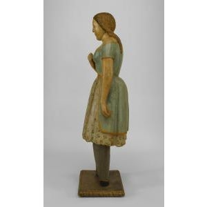 American Country style life size wood figure of young girl For Sale - Image 10 of 11