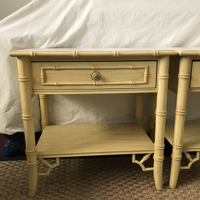 Asian Thomasville Faux Bamboo Hollywood Regency Nightstands-a Pair For Sale - Image 3 of 9