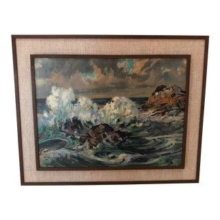 "1950s ""Waves Crashing on Rocks"" by David Curtis Baker For Sale"