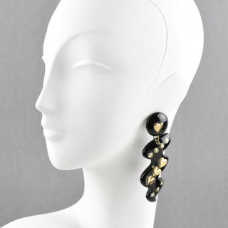 Italian Space Age Oversized Lucite Dangling Black Gilded Heart Clip-On Earrings Preview