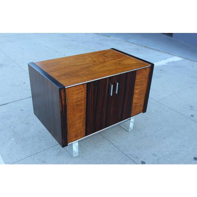 Mid-Century Wooden Nightstand on Lucite Base - Image 2 of 11