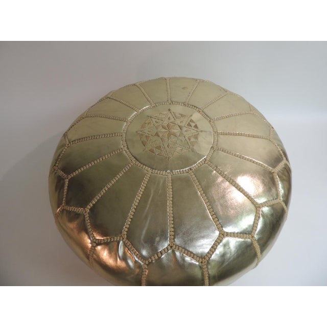 Round Boho Chic Gold Moroccan Ottoman - Image 2 of 5