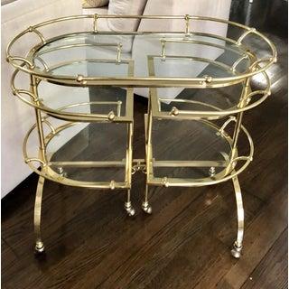 Rare Vintage Bronze & Glass Folding Cocktail Cart - Maison Jansen Preview