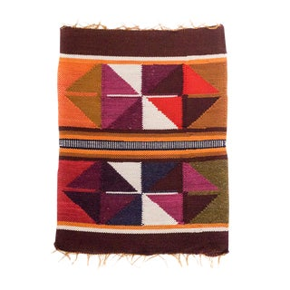 Peruvian Orange, Plum, Olive Wall Hanging / Placemat For Sale
