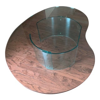 Modern Kidney-Shaped Glass Coffee Table For Sale