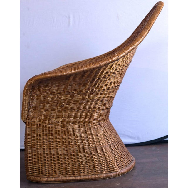 Vintage Mid Century Triangular Wicker/Rattan Armchair and Ottoman For Sale - Image 10 of 17