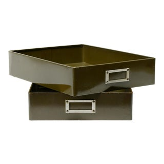Pair of 1940s Metal Drawer Inserts Repurposed as Memo Trays For Sale