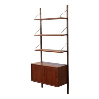1960s Royal System Poul Cadovius Cado Modular Teak Wood Floating Wall Shelving Unit For Sale