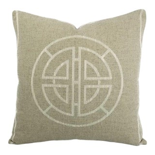 "Pindler Longevity in the Color Natural Minimalist Dial Abstract Pillow Cover - 20"" X 20"" For Sale"