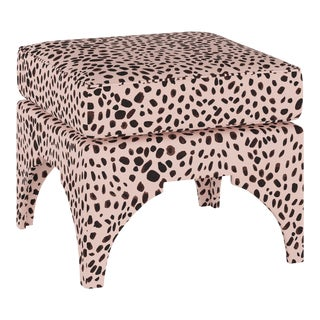 Ottoman, Washed Cheetah Pink Black For Sale