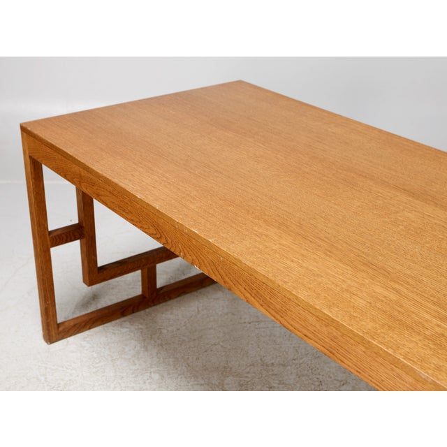 Long Oak Desk Table With Side Geometrical Design For Sale - Image 4 of 5