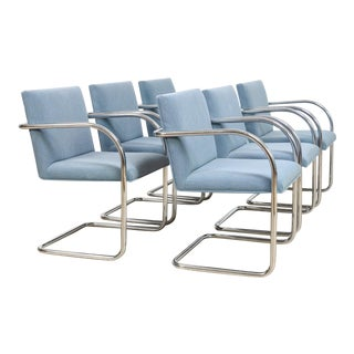 Mid Century Mies Van Der Rohe Model 504 Brno Gordon Blue and Chrome Tubular Arm Chairs, Set of 6 For Sale