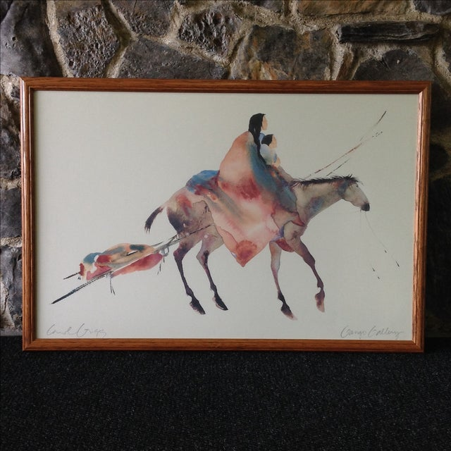 Circa 1992, this watery lithograph by artist Carol Grigg is printed on textured museum quality paper. Custom framed under...
