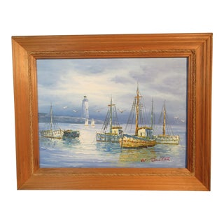 1960s Vintage W. Dalton Harbor Scene W/Sailboats & Fishing Trawlers Original Framed Oil Painting For Sale