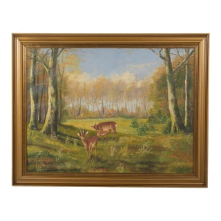 Early 20th-Century Deer in Forest Meadow Landscape Oil on Canvas For Sale