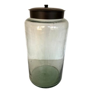 Green Glass Storage Jar With Metal Lid For Sale