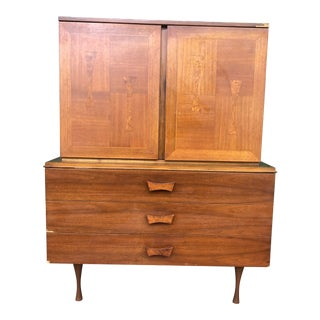 1960s Mid Century Modern Burlwood Highboy For Sale