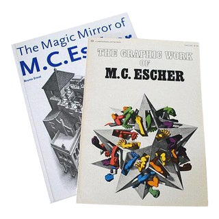 Two Vintage m.c. Escher Books, Graphic Work, Magic Mirror For Sale