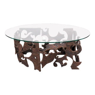 Brutalist Glass Top Iron Coffee Table For Sale
