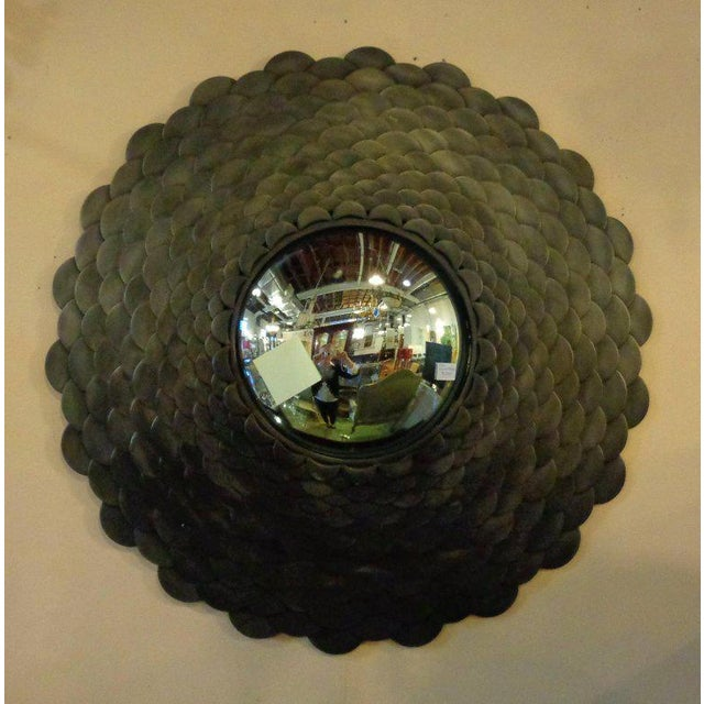Palatial heavy large modernist steel fish scale wall mirror. Convex fish eye mirror. Decorator stepped steel frame....