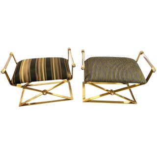 Mid Century Modern Style Pair of Ron Seff Gunmetal Brass & Chrome Benches/Stools For Sale