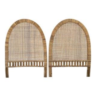 1970s Boho Chic Woven Buri Rattan Twin Headboards - a Pair